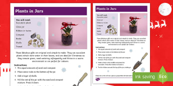 Christmas Plants in Jars Craft Instructions - Christmas crafts, Christmas fair, making, planting, gifts.