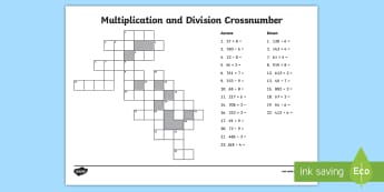 calculations mixed multiplication and division primary resources year  crossnumber multiplication and division worksheet  crossword  puzzle across down