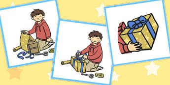 3 Step Sequencing Cards Wrapping a Present - wrapping, present