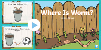Worm Prepositions PowerPoint - in, on, under, underneath, position, positional, powerpoint