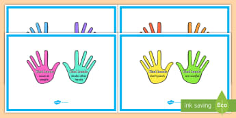 Kind Hands Display Posters - kind hands, behavior, special education, posters, bulletin board, classroom rules, expectations, soc