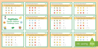 UKS2 MojiMaths 3 Number Addition and Multiplication Differentiated Challenge Cards - Mathemoji, Solvemoji, Emoticon, Emoji, Algebra