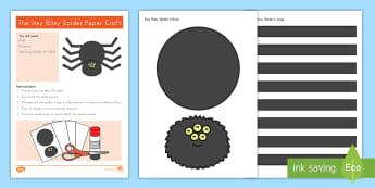 The Itsy Bitsy Spider Paper Craft -  nursery rhymes, nursery rhyme craft, Language Arts Extension activity, cutting skills, cutting and