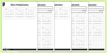 Short Multiplication Activity Sheets - compact multiplication