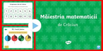 Măiestrie matematică de Crăciun PowerPoint - matematică, probleme, activități de Crăciun, provocări matematice, jocuri matematice,Romanian