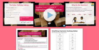 KS3 Algebra Unit 1 Lesson 4 Expressions Including Indices - algebraic, expressions, terms, indices, powers, BIDMAS, manipulation, simplify, laws of indices