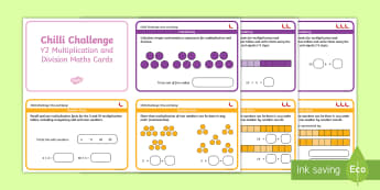 Chilli Challenge Year 2 Multiplication and Division Maths Cards - Challenge Cards, Times, Share, KS1, Maths Mats