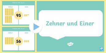Stellenwert Einer und Zehner PowerPoint Präsentation  - Zahlen, Nummern, Ziffern, zählen, Zahlen bilden, zerlegen, Zahlen zerlegen,,German