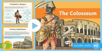 The Coliseum PowerPoint - Roman Spain, Ancient Rome, Year 4, Ancient Romans, Architecture, Ancient History, Roman Empire,Spani