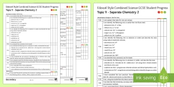 Edexcel Style Separate Chemistry 2 Progress Sheet - Polymer, Ion, Hydrocarbon, carboxylic Acid, Alcohol, Nanoparticles, self assessment, GCSE, revision