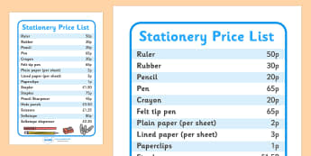 Stationery Price List - shop, stationery, pencil, paper, pens, prices, list, price list, pen, staples, ruler, rubber, stapler, crayon
