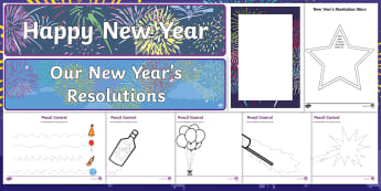 New Year CfE Early Level Resource Pack - New Year's Eve, Hogmanay, 2018, Resolutions, New Year's Day, 1st January