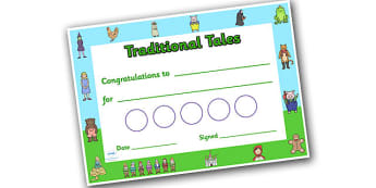 Traditional Tales Sticker Reward Certificate 30mm - reward certificate, sticker reward certificate, traditional tales reward certificate, traditional tales