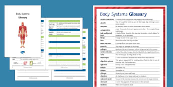 Body Systems Glossary - Glossary, body systems, digestive system, respiration, skeleton