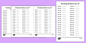 Dividing Numbers by 10 A5 Activity Sheet - dividing, numbers, 10, activity, sheet, worksheet