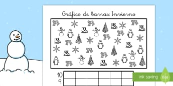 Ficha de actividad: Gráfico de barras - Invierno - gráfico de barras, gráficos, matemáticas, mates, invierno, temático, contar, colorear, ,Spanish