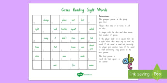 Green Reading Sight Words Board Game - Literacy, Reading, Green, Sight Words, Colour Wheel