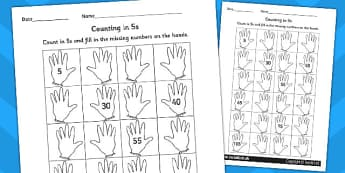 Counting in 5s Hands Worksheet / Activity Sheet - counting aid, count, numeracy, Count in 5s, fives, skip counting, multiply of five, numeracy, numbers, counting, counting in 5