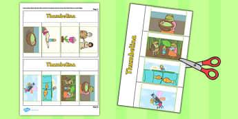 Thumbelina Story Writing Flap Book - flap book, thumbelina, story