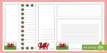 Wales Themed Page Borders - Welsh page border, a4 border, template, writing aid, writing border, page template, Dewi sant, St David, daffodil, Wales, cymru, leek, parade, patron saint