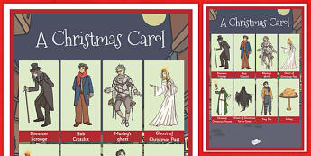 A Christmas Carol Word Grid - festivities, words, celebration, scrooge, Charles Dickens