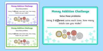 Adding Coins Maths Challenge Cards - add, coins, money, maths