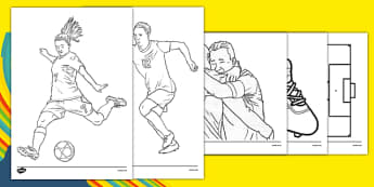 Rio 2016 Olympics Football Colouring Sheets - Football, Olympics, Olympic Games, sports, Olympic, London, 2012, colouring, fine motor skills, poster, worksheet, vines, A4, display, activity, Olympic torch, events, flag, countries, medal, Olympic Ring
