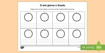 Il mio giorno a scuola Esercizio - Il, mio, programma, orario, esercizio, ora, orologio, leggere, italiano, italian