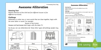 Awesome Alliteration Activity Sheet - Amazing Fact Of The Day, activity sheets, powerpoint, starter, worksheet, morning activity, May, all