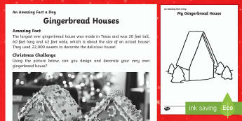 Gingerbread House Activity Sheet - Amazing Fact Of The Day, activity sheets, PowerPoint, starter, morning activity, December, Christmas