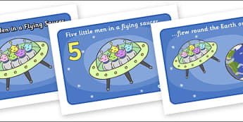 Five Little Men in a Flying Saucer Sequencing - Five Little Men in a Flying Saucer, nursery rhyme, rhyme, rhyming, nursery rhyme story, nursery rhymes, counting rhymes, counting backwards, subtraction, one less than, Five Little Men resources, space