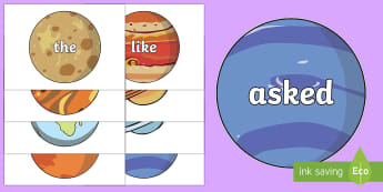 Phase 2 to 5 Tricky Words on Planets Other - 100 High Frequency Words on Planets - 100, high frequency words, planets, display,high frequecy word