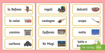 La Befana e l'Epifania Parole Illustrate - epifania, gennaio, strega, witch, italiano, italian, materiale, scolastico
