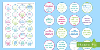 NI Thinking Skills and Personal Capabilities Problem Solving and Decision Making Stickers - comments, targets, curriculum, marking, statements, Northern Ireland