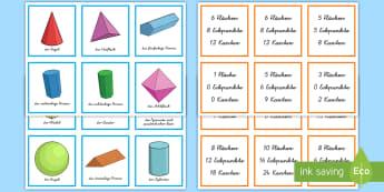 3D Formen und ihre Eigenschaften Memorykarten - Mathe, Geometrie, Figuren, Körper, Inhalt, Spiel, Spaß, Kartenspiel, ,German