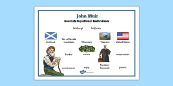 Scottish Significant Individuals John Muir Word Mat - Scottish significant individual, conservation, National Parks, Yosemite, Sierra Nevada, United States
