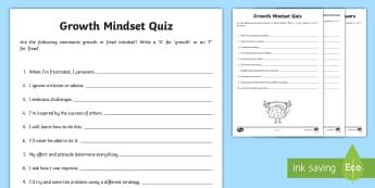 KS2 Growth Mindset Pop Quiz - mentality, fixed mindset, positive mental attitude, pMA, behaviour