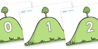 Numbers 0-31 on Hills - 0-31, foundation stage numeracy, Number recognition, Number flashcards, counting, number frieze, Display numbers, number posters