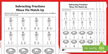 UKS2 Subtracting Fractions Christmas Differentiated Activity Sheets - Maths, Numerator, Denominator, Proper, Improper, Mixed number, worksheets