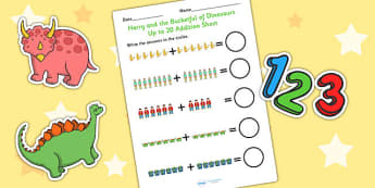Up to 20 Addition Sheet to Support Teaching on Harry and the Bucketful of Dinosaurs