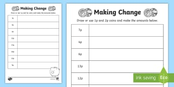 Making Change: 1p and 2p Coins Activity Sheet - NI KS1 Numeracy, money, value, amount, 1p, 2p, play, home learning, homework, worksheet.
