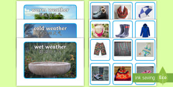 Photo Weather Clothes Sorting Activity English/Mandarin Chinese - Photo Weather Clothes Sorting Activity - photo, weather, clothes, sorting, activity,waether, WHEATHE