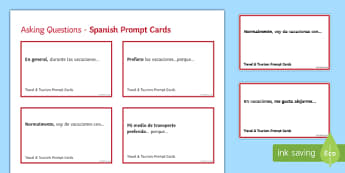 General Conversation Travel & Tourism Question Prompt Cards Spanish