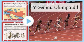 Pŵerbwynt Gwybodaeth am y Gemau Olympaidd PowerPoint-Welsh