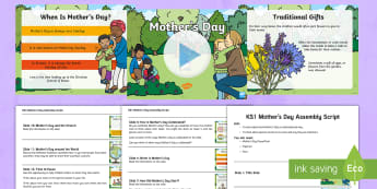 KS1 Mother's Day Assembly Pack - mothering sunday, mum, mummy, special, flowers, love, thinking, talking