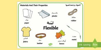 Materials And Their Properties Flexible Materials Word Mat Arabic/English - Materials And Their Properties Flexible Materials Word Mat - materials, properties, materilas, wordm
