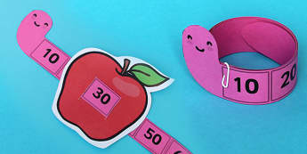Worm and Apple Counting Up In 10 Strip - numbers, count, strips