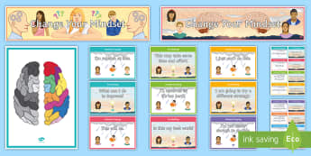 Developing Growth Mindset Display Pack - growth mindset, positivity, believe in yourself, courage, targets