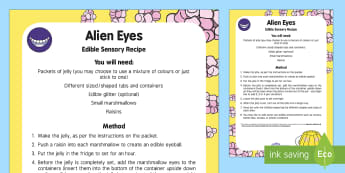 Alien Eyes Edible Sensory Recipe - Aliens Love Underpants, Claire Freedman, space, jelly, sensory play, taste-safe, messy play