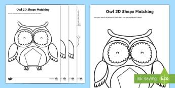 Owl 2D Shape Matching Activity - Maths in ECE, shape, matching, recognition, owl, maths, 2D shape